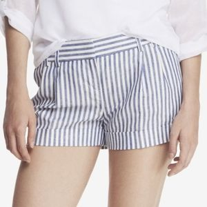 Express blue & white striped linen shorts